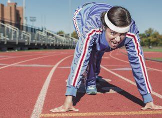 Woman on running track